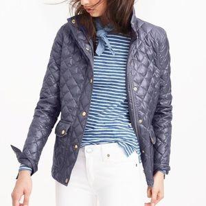 J. Crew Shiny Downtown Field Puffer Jacket Gray